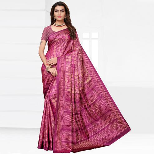 Gorgeous Pink Colored Casual Printed Silk Saree