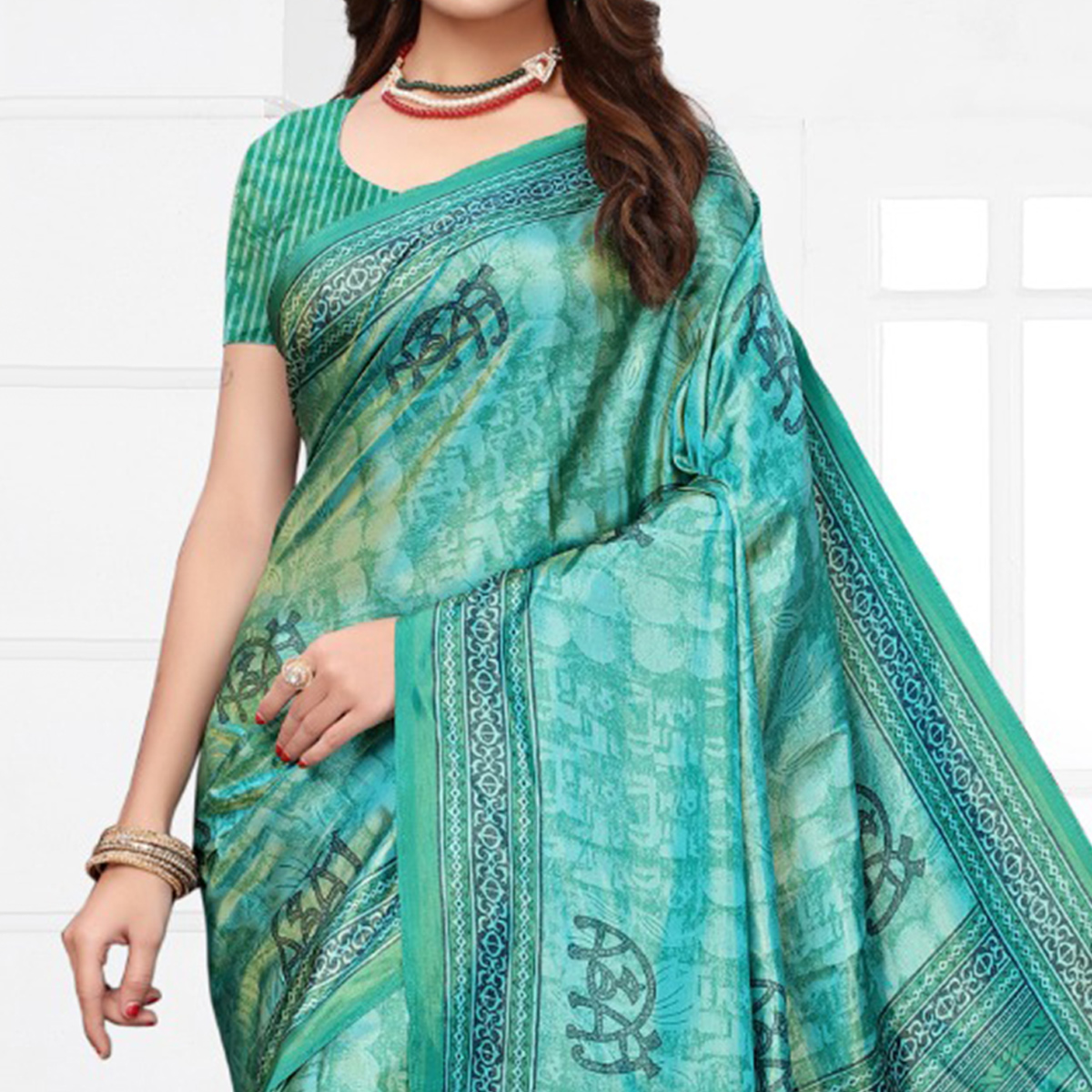 Classy Turquoise Colored Casual Printed Silk Saree