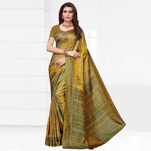 Glorious Mustard-Green Colored Casual Printed Silk Saree