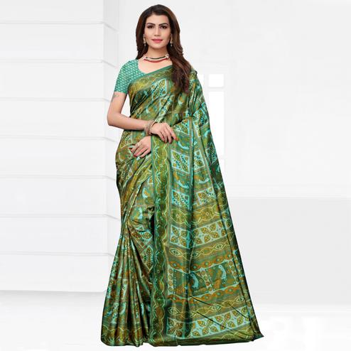 Graceful Green Colored Casual Printed Silk Saree