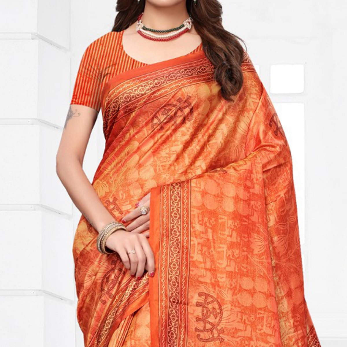 Lovely Orange Colored Casual Printed Silk Saree