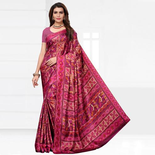 Pretty Pink Colored Casual Printed Silk Saree