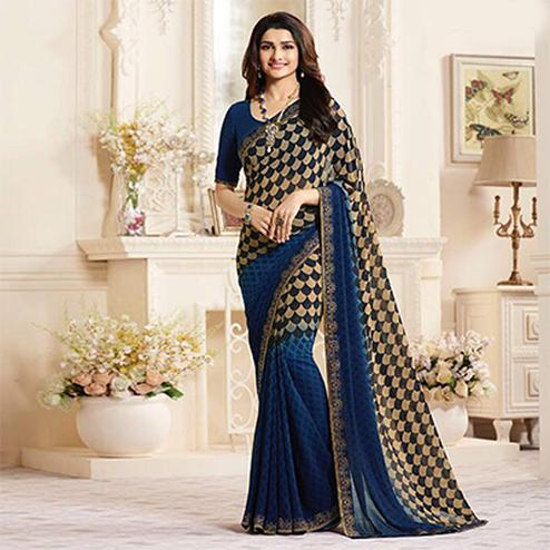 Desirable Blue Casual Printed Georgette Saree