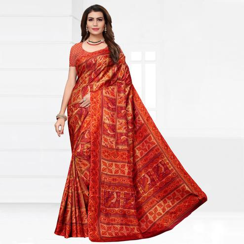 Charming Red Colored Casual Printed Silk Saree