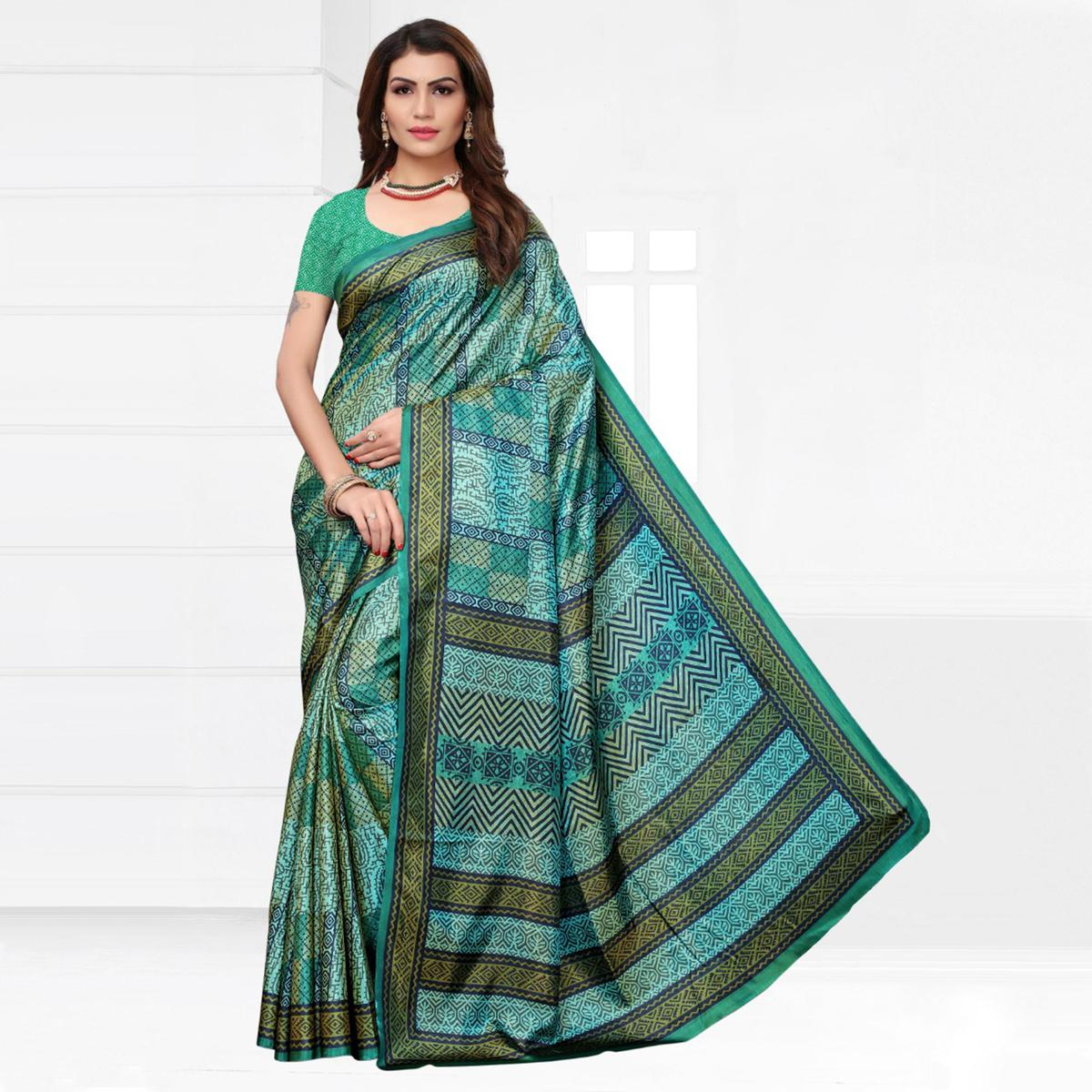 Delightful Turquoise-Green Colored Casual Printed Silk Saree