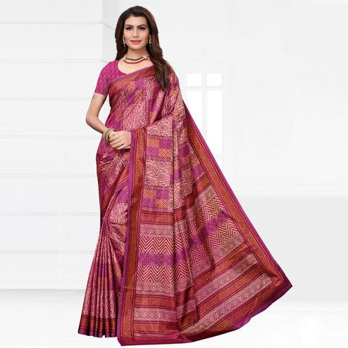 Stunning Pink Colored Casual Printed Silk Saree