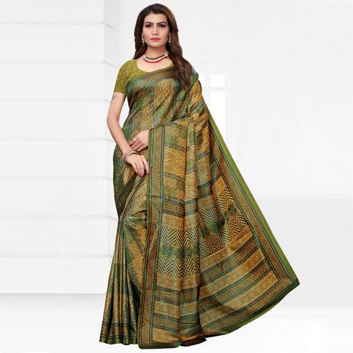 Blooming Olive Green Colored Casual Printed Silk Saree