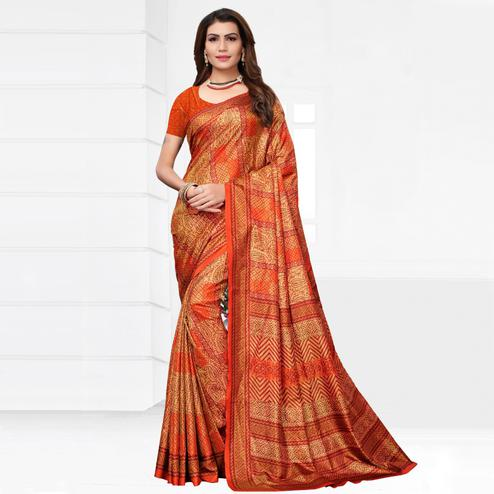 Marvellous Orange Colored Casual Printed Silk Saree