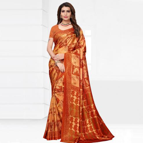 Mesmerising Orange Colored Casual Printed Silk Saree