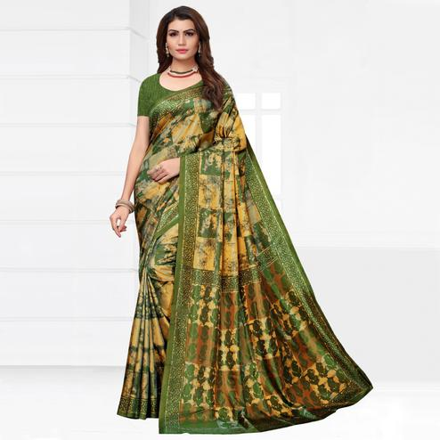 Ravishing Green Colored Casual Printed Silk Saree
