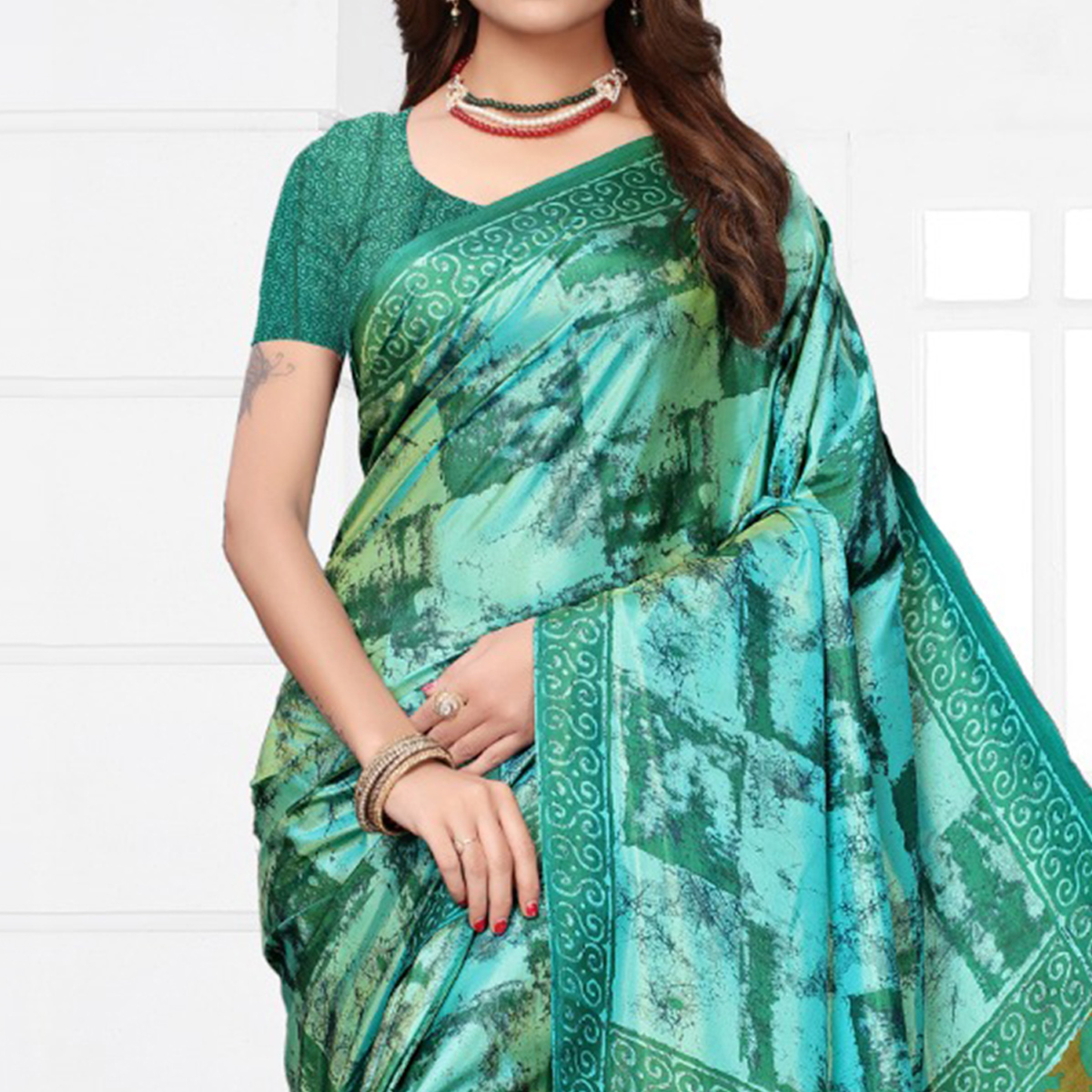 Eye-catching Turquoise Colored Casual Printed Silk Saree