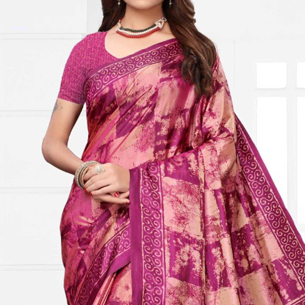 Amazing Magenta Pink Colored Casual Printed Silk Saree