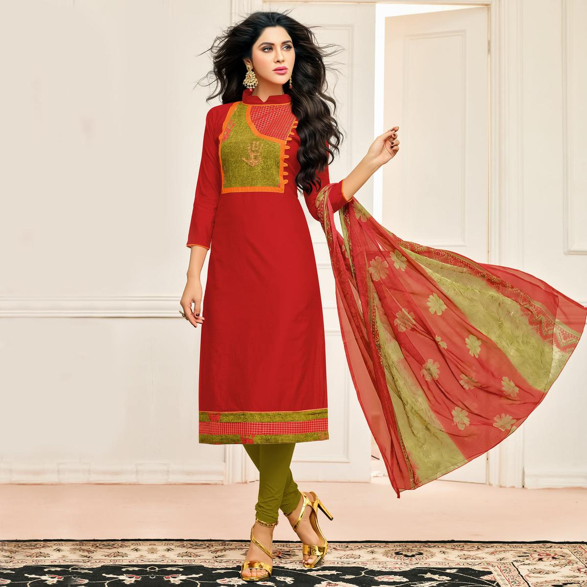 Gorgeous Red Designer Chanderi Cotton Dress Material