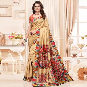Majesty Beige Colored Casual Printed Silk Saree