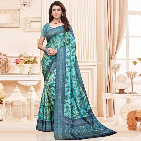 Preferable Aqua Blue Colored Casual Printed Silk Saree