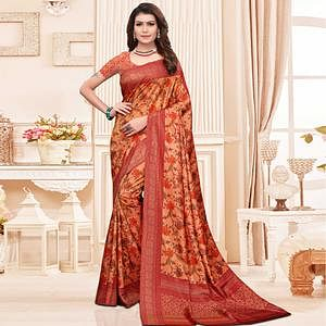Attractive Orange Colored Casual Printed Silk Saree