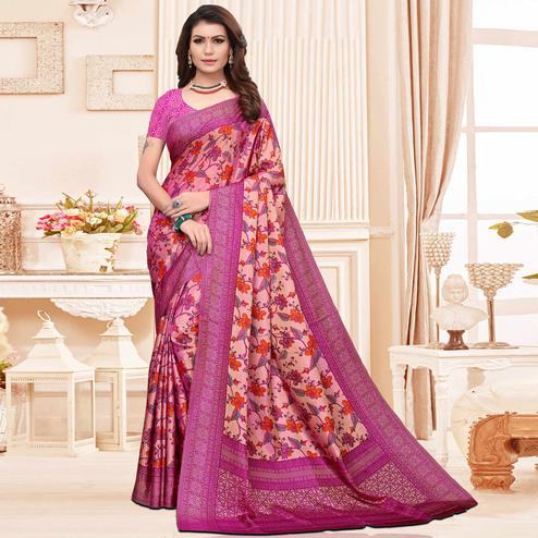 Surpassing Pink Colored Casual Printed Silk Saree