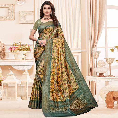 Entrancing Beige Colored Casual Printed Silk Saree