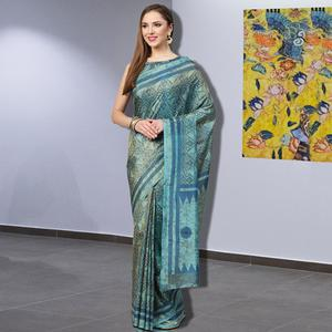 Imposing Turquoise-Grey Colored Casual Printed Silk Saree