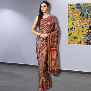 Blissful Mustard Yellow-Brown Colored Casual Printed Silk Saree