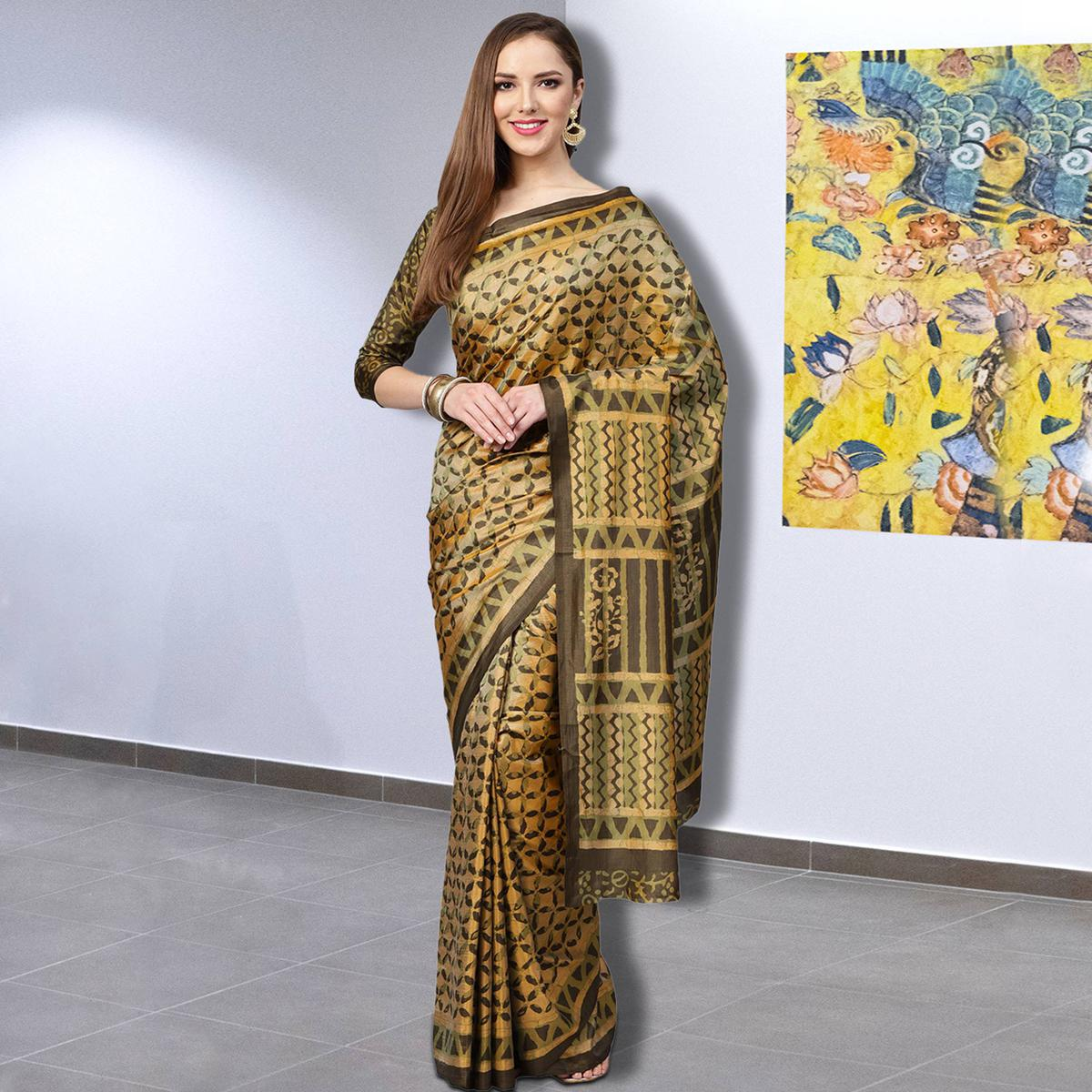 Ideal Yellow Colored Casual Printed Silk Saree