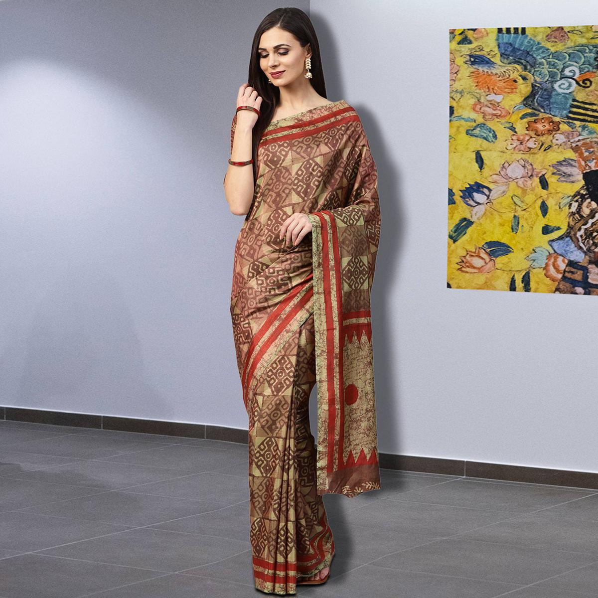Engrossing Brown Colored Casual Printed Silk Saree