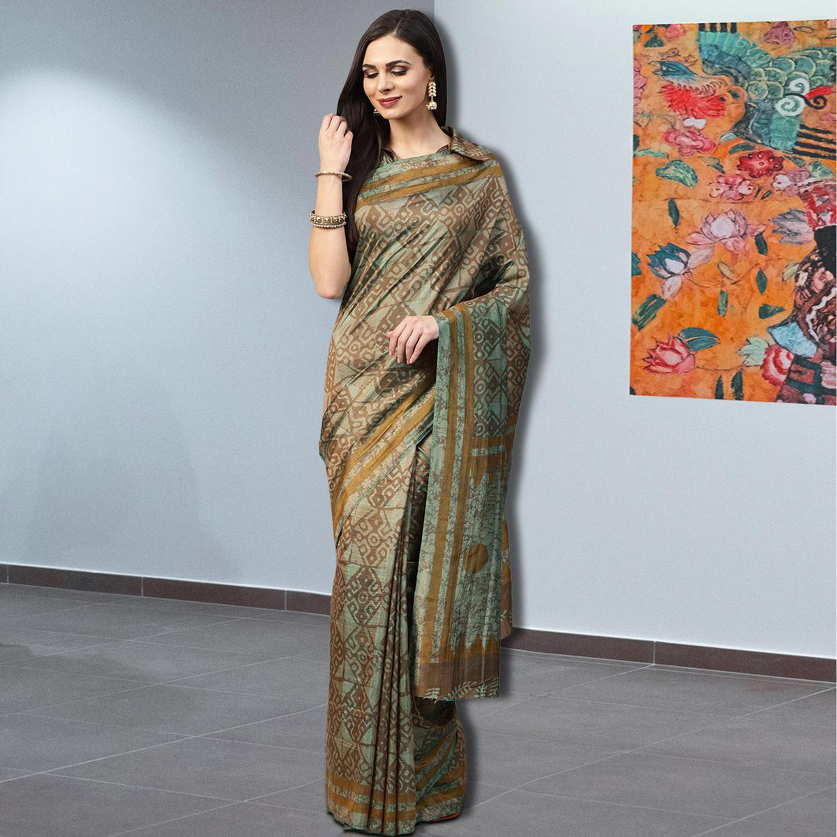 Fantastic Green-Brown Colored Casual Printed Silk Saree