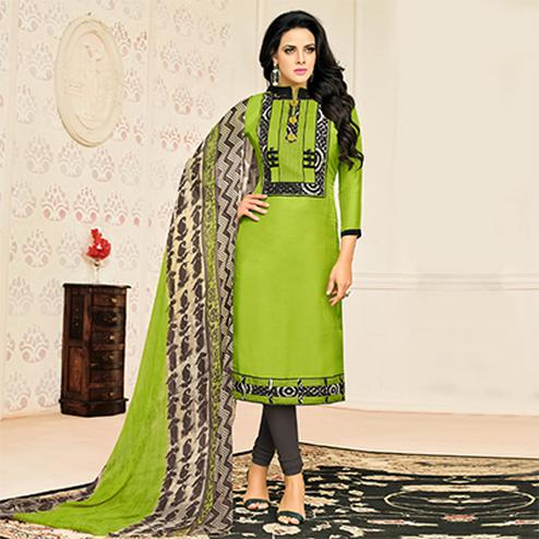 Charming Green Designer Chanderi Cotton Dress Material