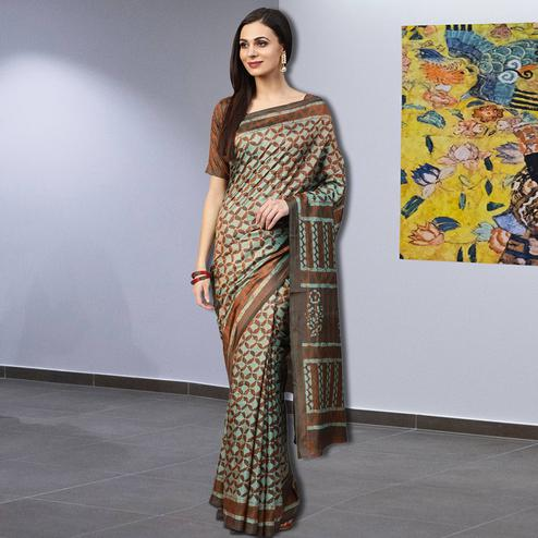 Pleasance Light Blue-Brown Colored Casual Printed Silk Saree