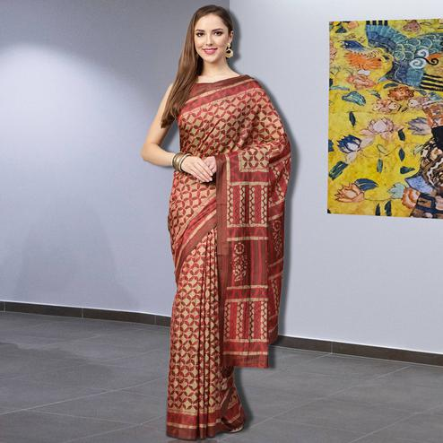Ethnic Beige-Maroon Colored Casual Printed Silk Saree