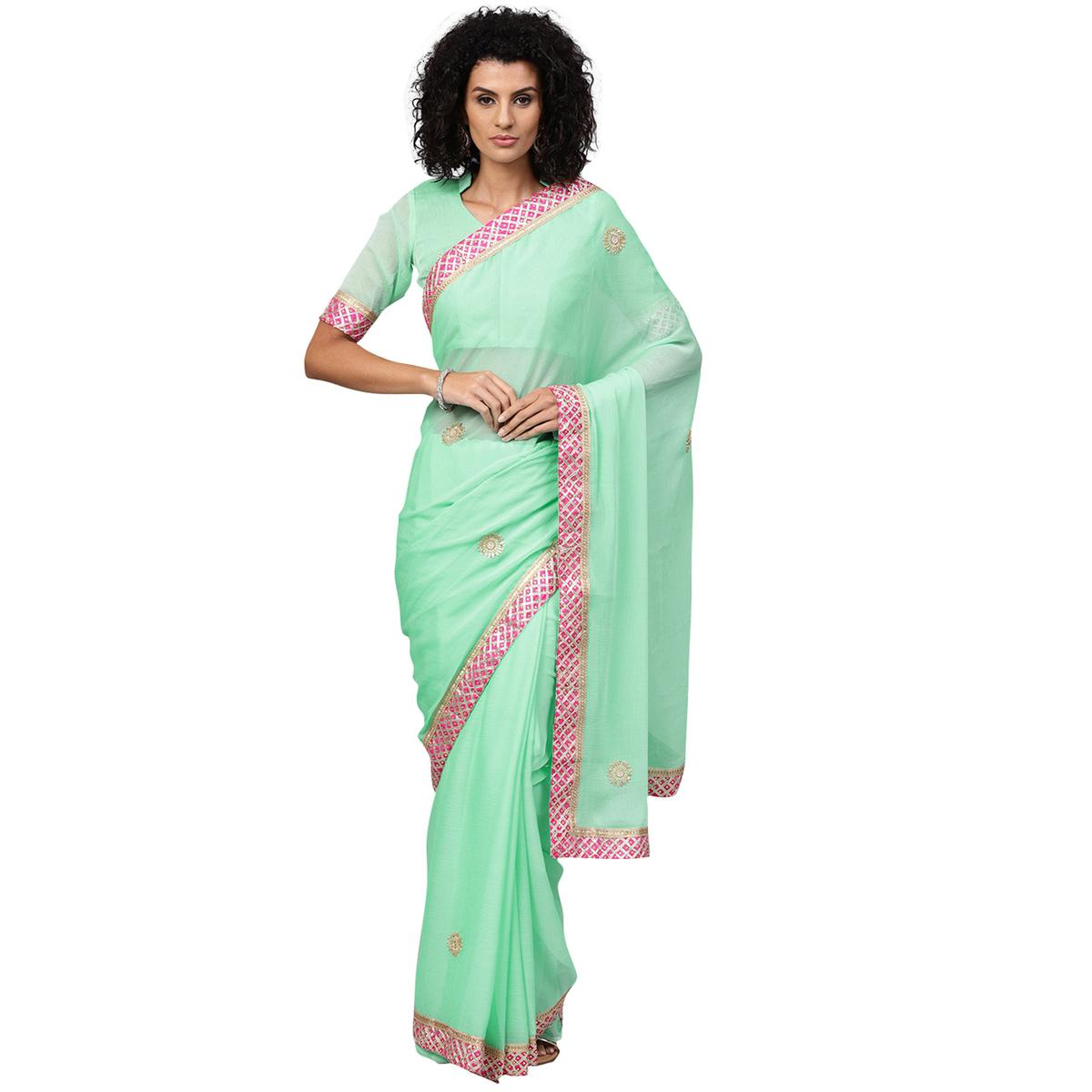 Sensational Aqua Green Colored Party Wear Georgette Saree