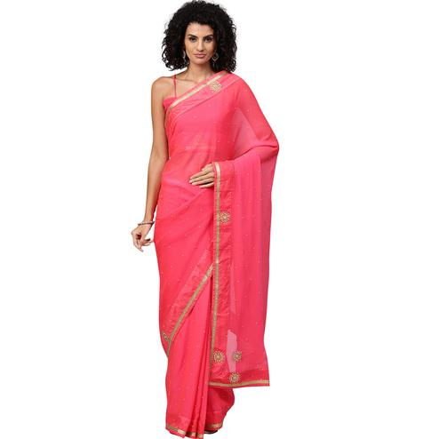Opulent Pink Colored Party Wear Georgette Saree