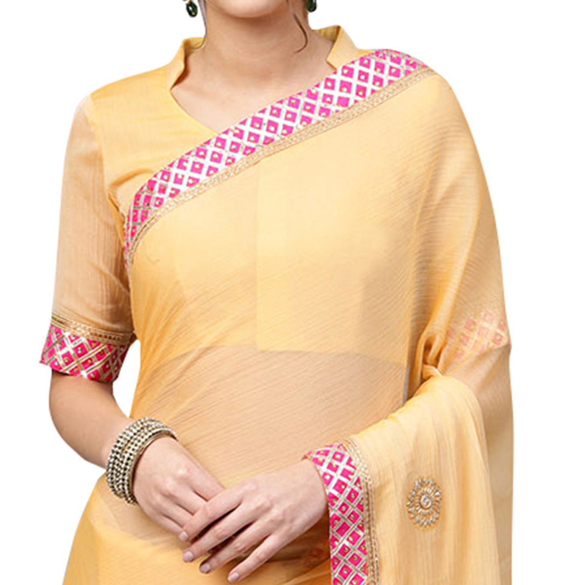 Dazzling Yellow Colored Party Wear Georgette Saree
