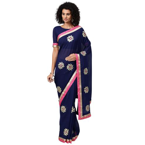 Flattering Navy Blue Colored Party Wear Georgette Saree