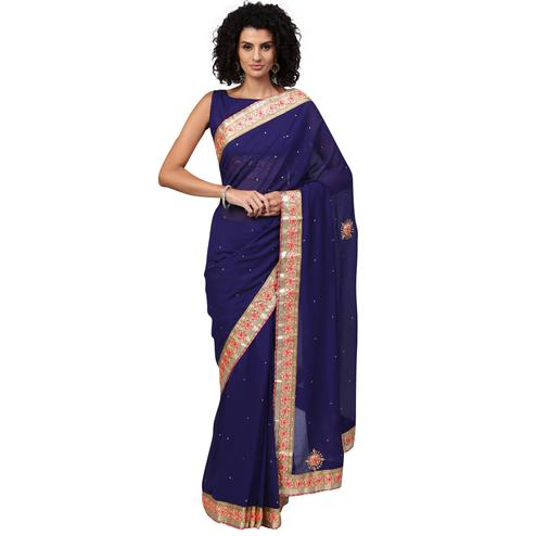 Innovative Navy Blue Colored Party Wear Georgette Saree