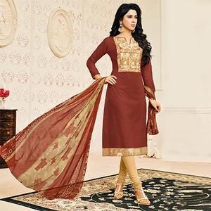 Attractive Brown Designer Chanderi Cotton Dress Material