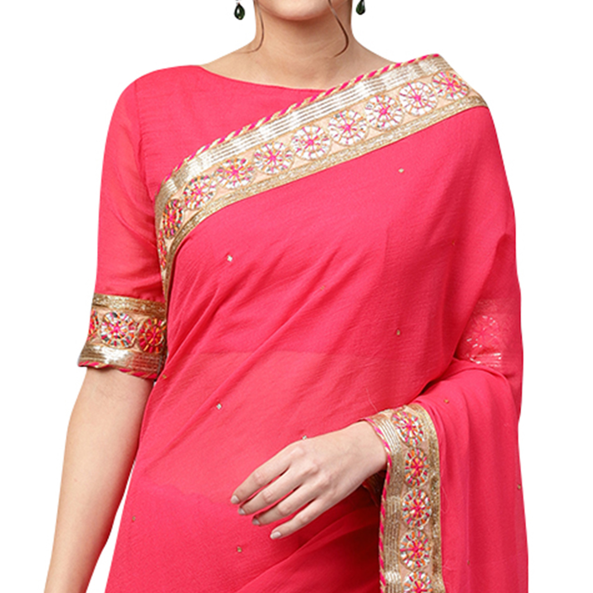 Gleaming Pink Colored Party Wear Georgette Saree