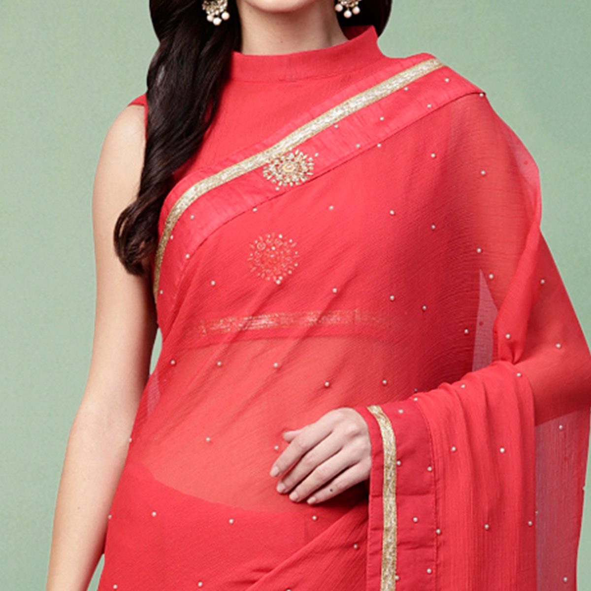 Arresting Red Colored Party Wear Georgette Saree
