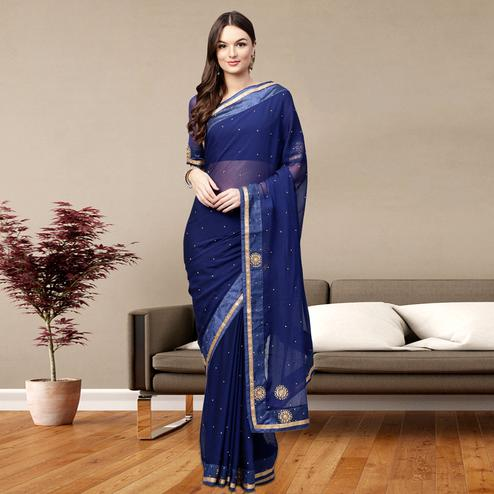 Excellent Navy Blue Colored Party Wear Georgette Saree