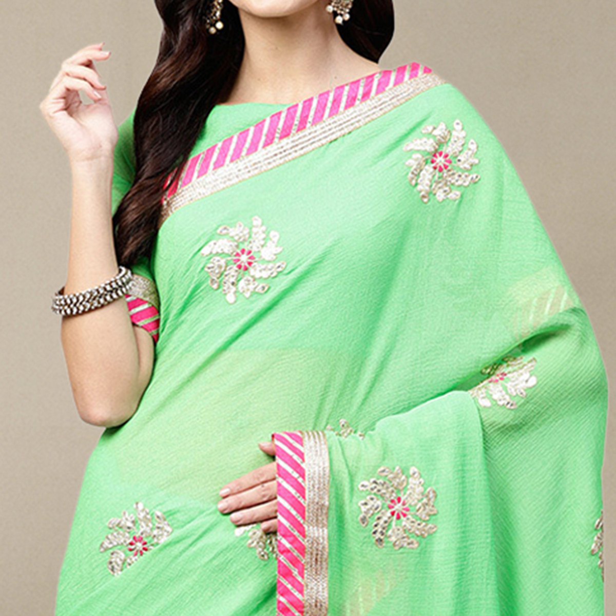 Ethnic Green Colored Party Wear Georgette Saree
