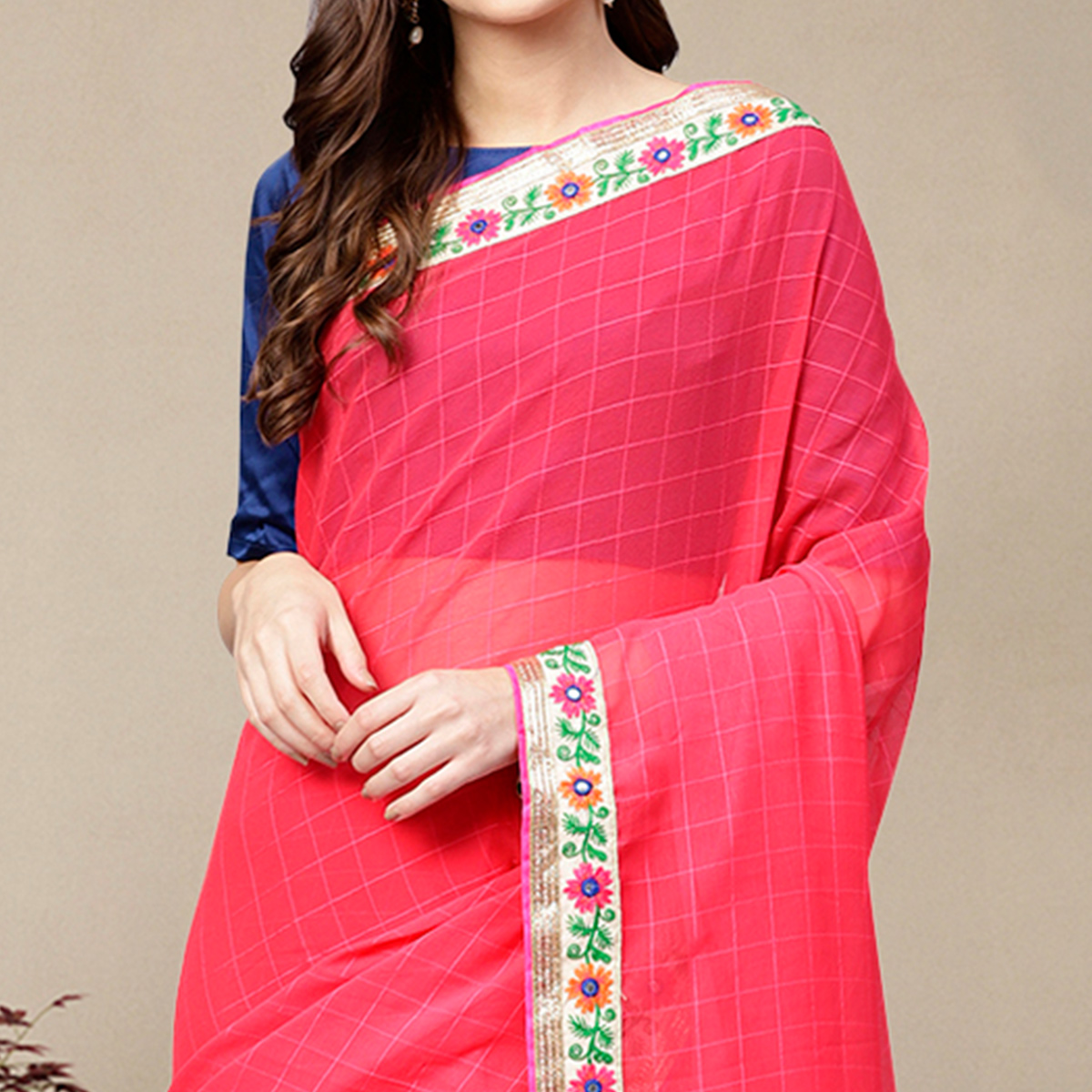 Starring Pink Colored Party Wear Georgette Saree