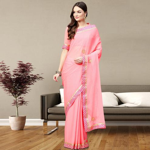 Flirty Light Pink Colored Party Wear Georgette Saree