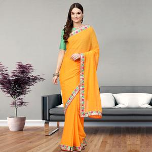 Glowing Yellow Colored Party Wear Georgette Saree