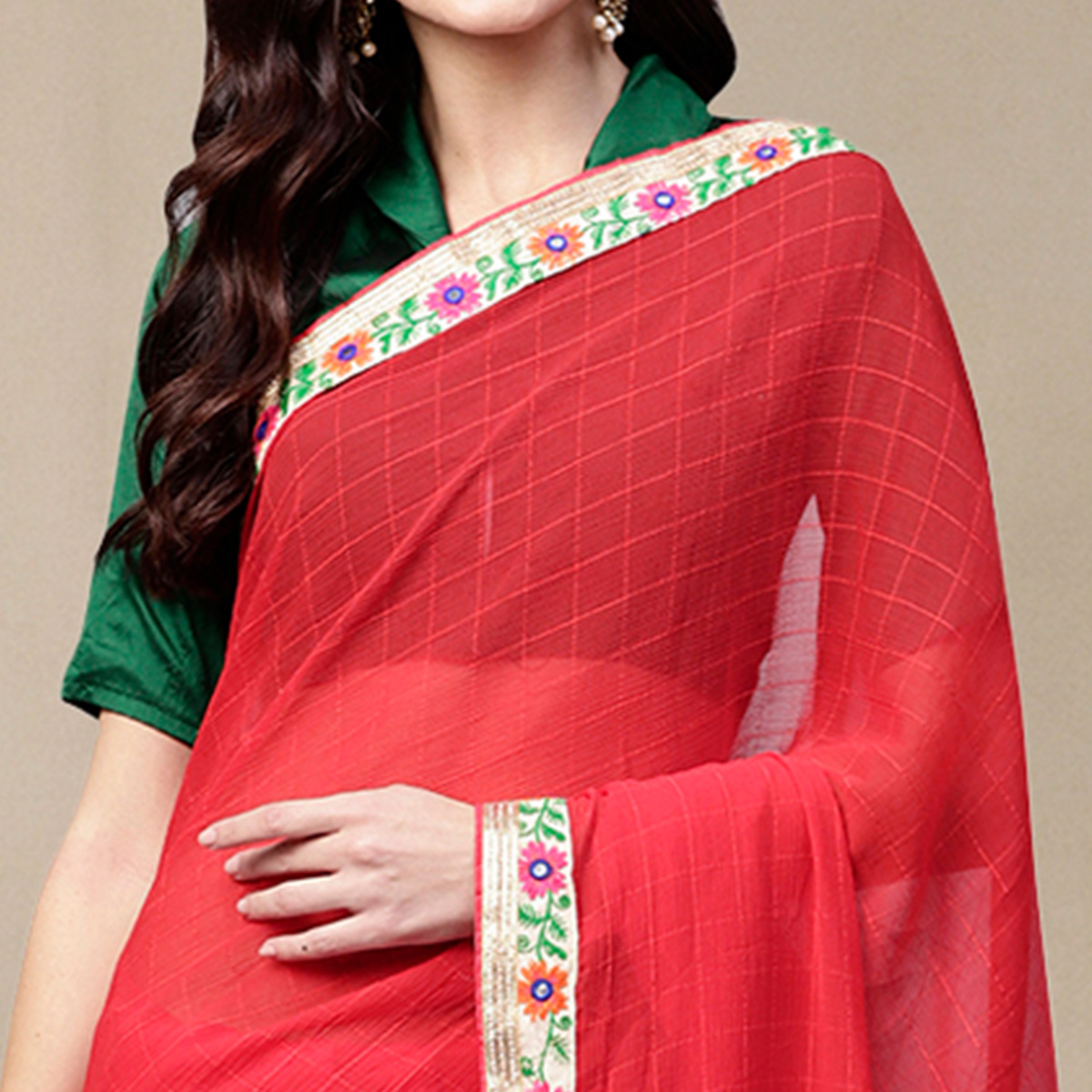 Hypnotic Red Colored Party Wear Georgette Saree