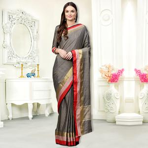 Lovely Gray Colored Festive Wear Silk Saree