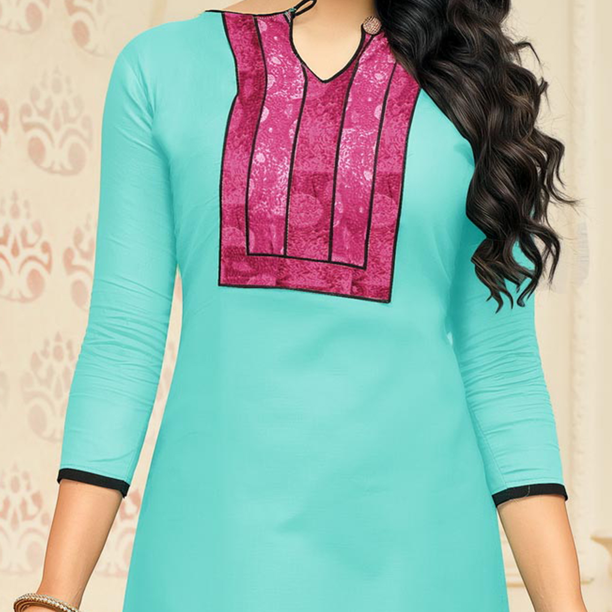 Adorable Blue Designer Chanderi Cotton Dress Material