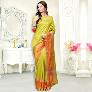 Classy Lemon Green Colored Festive Wear Silk Saree