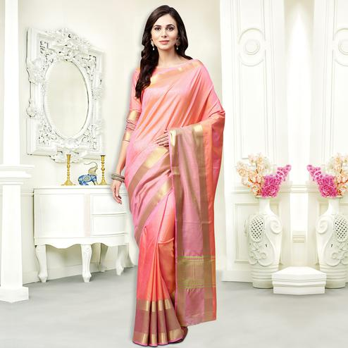 Attractive Pink Colored Festive Wear Silk Saree