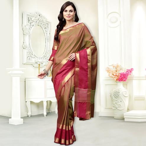 Glorious Golden Colored Festive Wear Silk Saree