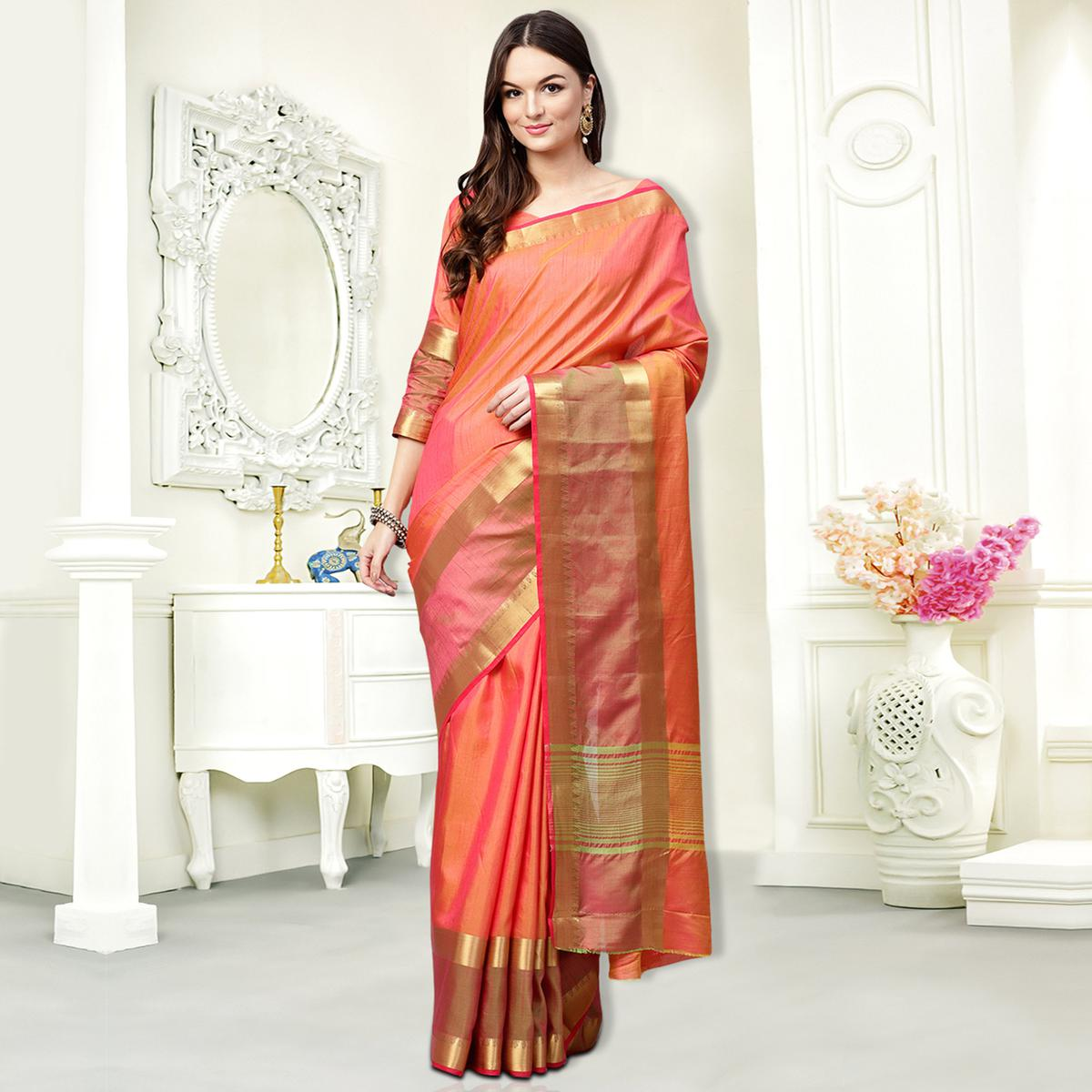 Pretty Peach Colored Festive Wear Silk Saree